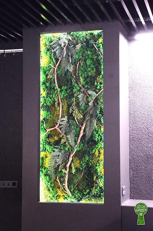 Панно из стабилизированного мха ягель и растений