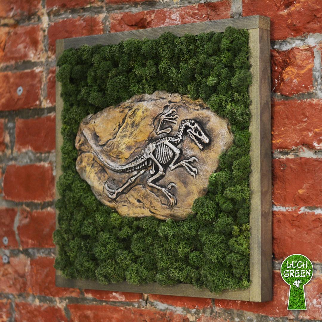 """Картина """"Скелет окаменелого Тираннозавра"""". Бетон. Мох. 42 х 42 см"""