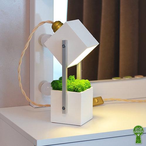 Настольный светильник Loft из архибетона белого цвета со светодиодной лампочкой