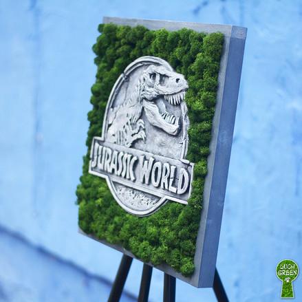 """Картина """"Jurassic World"""". Бетон. Мох. 42 х 42 см"""