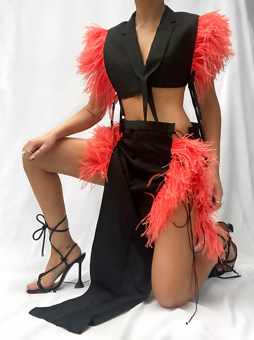 Flame Red Feather Blazer Top