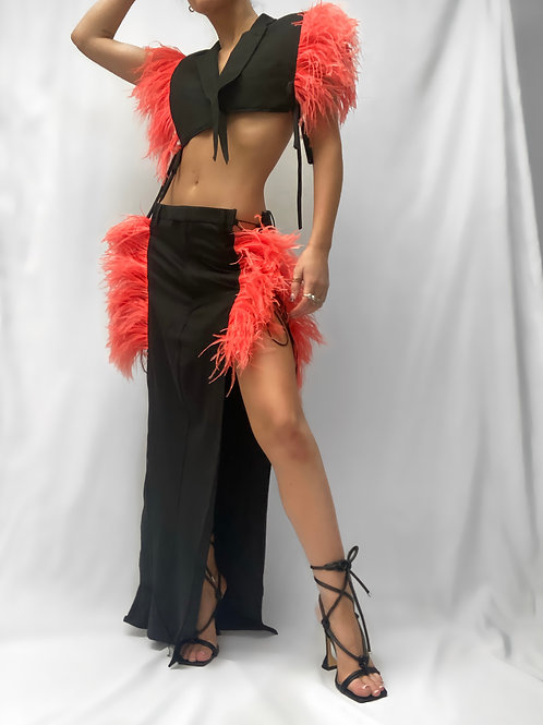 Flame Red Feather Maxi