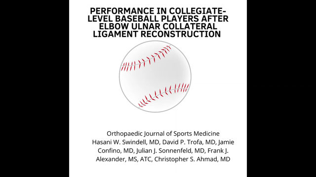 PERFORMANCE IN COLLEGIATELEVEL BASEBALL PLAYERS AFTER ELBOW ULNAR COLLATERAL LIGAMENT RECONSTRUCTION