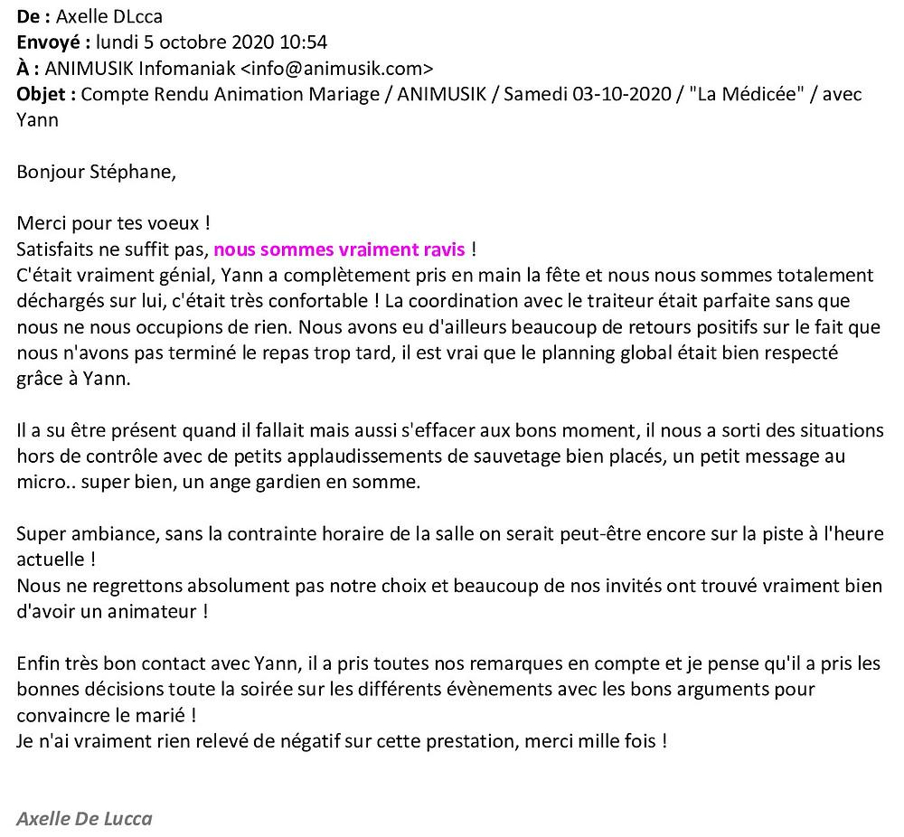 Mariage à Marigny avec Animusik Octobre 2020