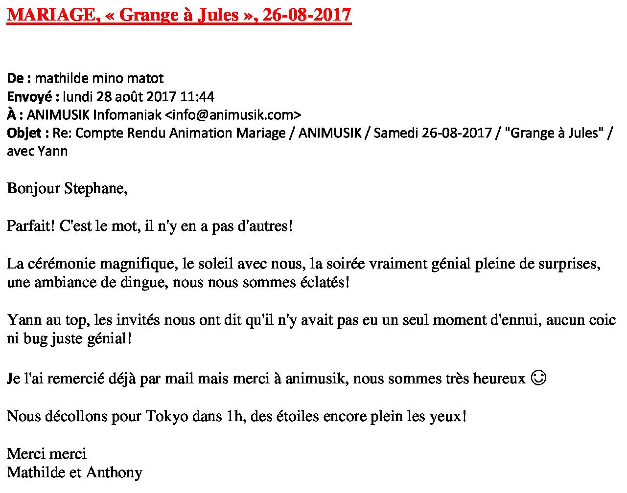Mariage Mathilde & Anthony 26.08.17