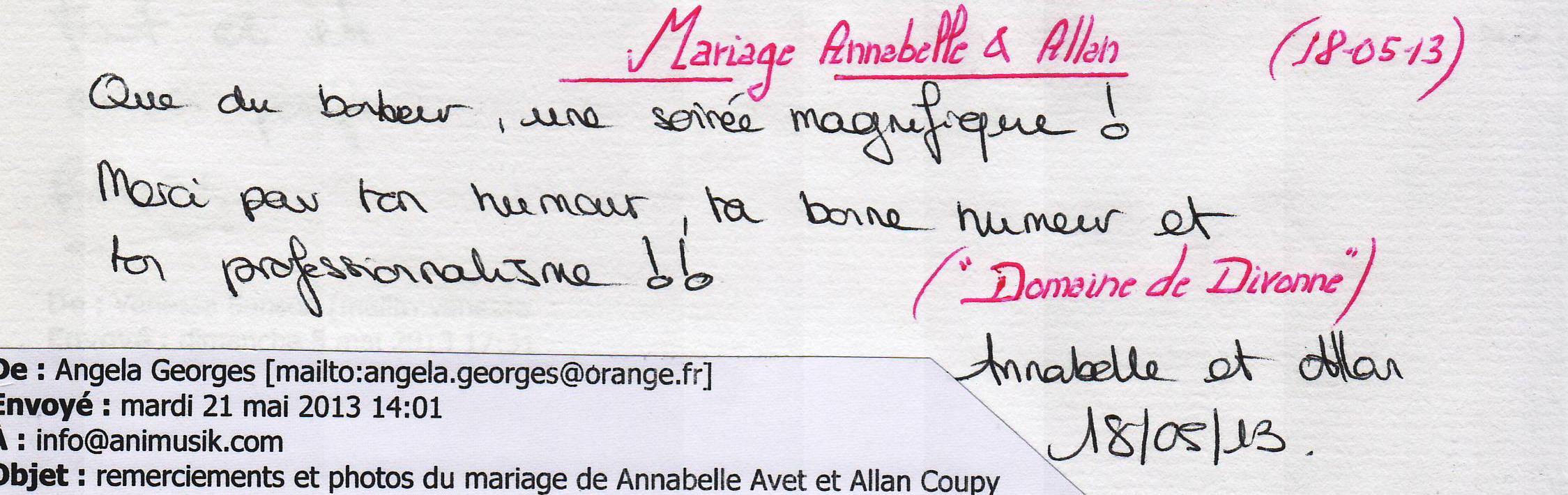 Mariage COUPY Allan & Annabelle (Domaine de Divonne) (18-05-2013)