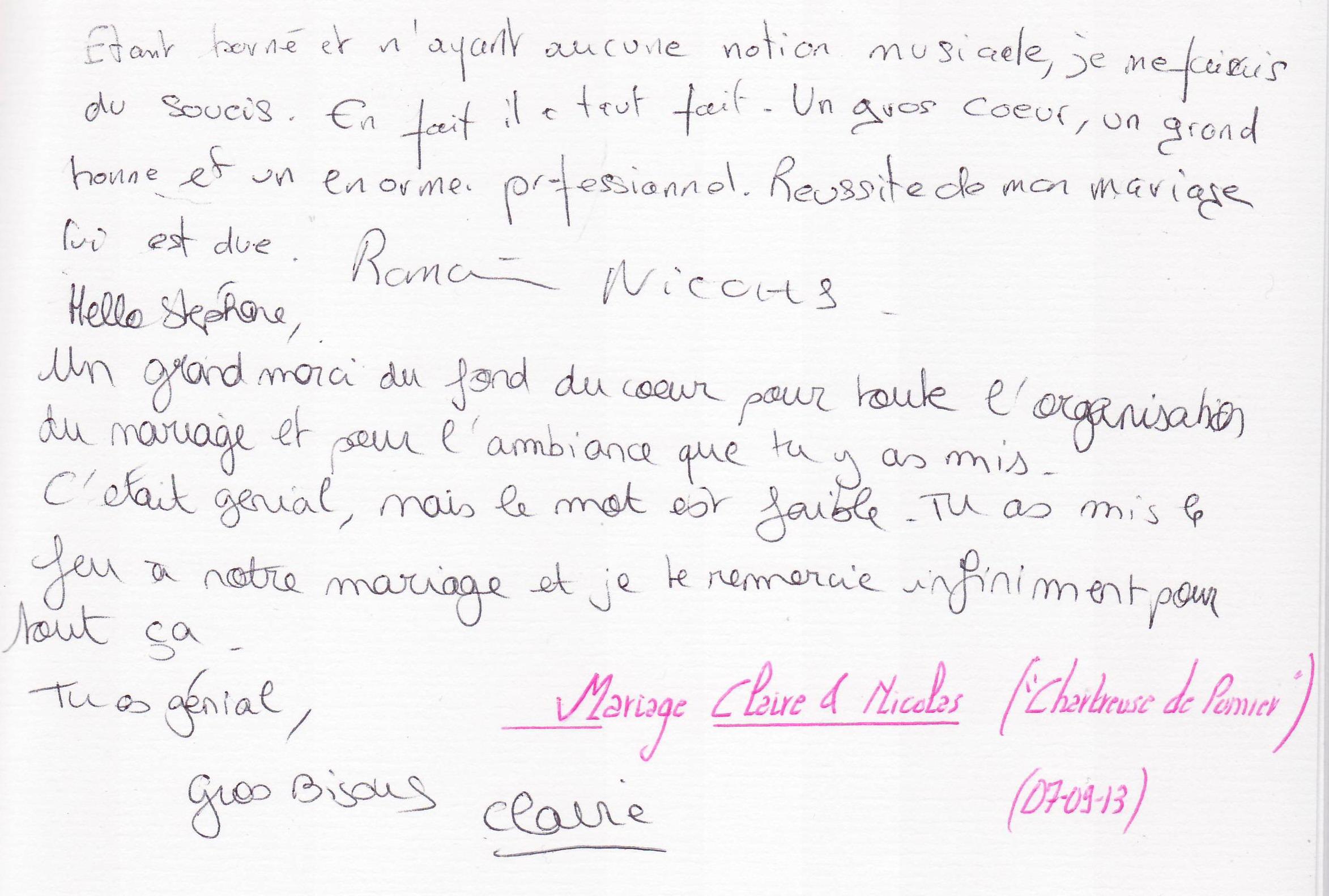 Mariage NICOLAS Romain & Claire (Chartreuse de Pomier) (07-09-2013)