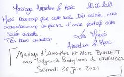 Mariage d 'Amandine & Marc BURLETT aux LODGES DE BABYLONES de LARRINGES Samedi 26 Juin 202