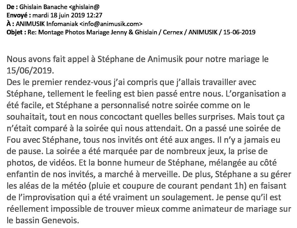 mariage à Cernex avec Animusik Juin 2019