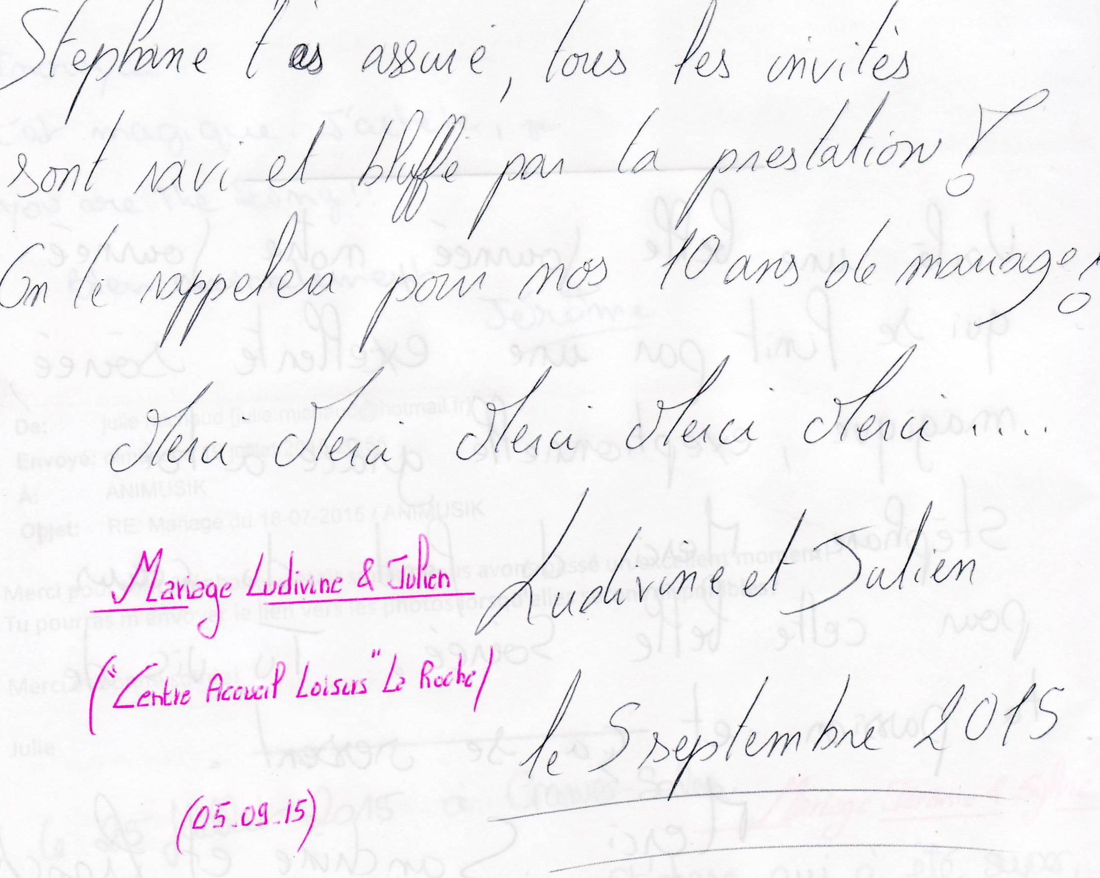 Mariage MINOTTE Julien & Ludivine (Centre Accueil Loisirs La Roche) (05-09-2015)