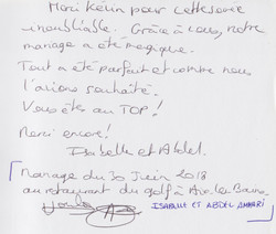 Mariage d'ISABELLE & ABDEL AMMARI au restaurant du Golf d' AIX LES BAINS Samedi 30 Juin 2018