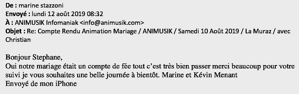 mariage à La Muraz avec Animusik Août 2019