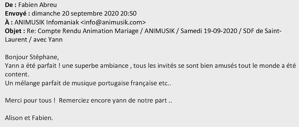 Mariage à St-Laurent avec Animusik Septembre 2020