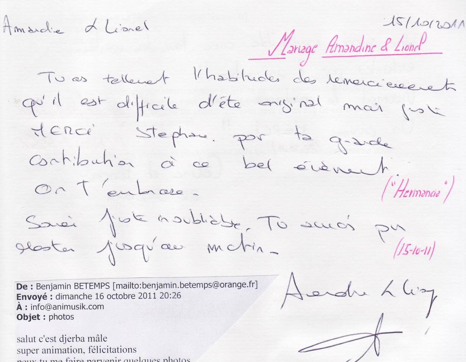 Mariage DURONZIER Lionel & Amandine (Hermancia) (15-10-2012)