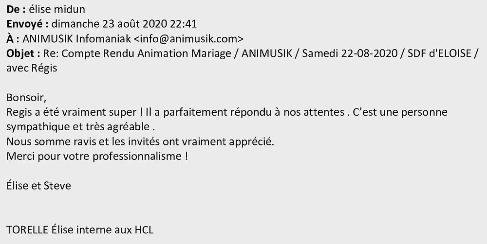 Mariage à Eloise avec Animusik Août 2020
