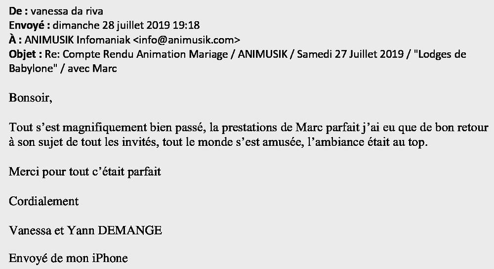 mariage à Larringes avec Animusik Juillet 2019
