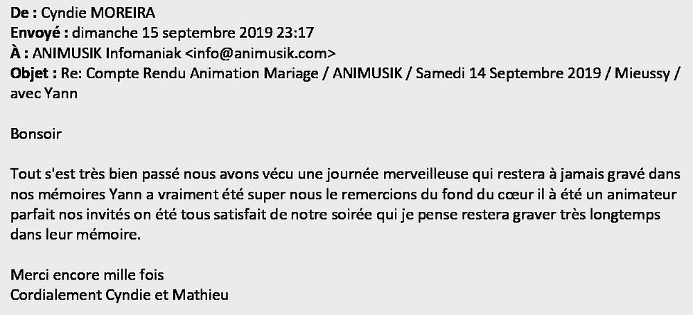 mariage à Mieussy avec Animusik Septembre 2019