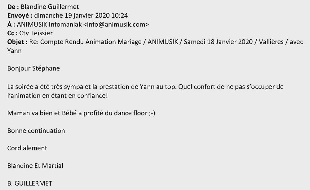 mariage à Vallières avec Animusik Janvier 2020