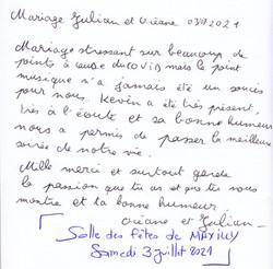 Mariage d'OCEANE & JUILIAN SAINLEGER à la Salle des fêtes de MAXILLY samedi 3 Juillet 2021
