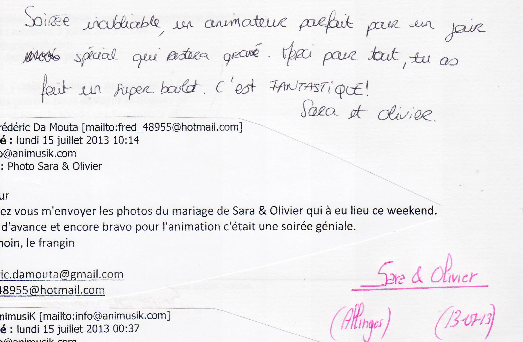 Mariage DA MOUTA Olivier & Sara (Allinges) (13-07-2013)