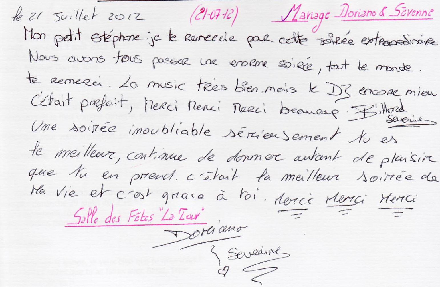 Mariage PIRAS Doriano & Séverine (La Tour) (21-07-2012)