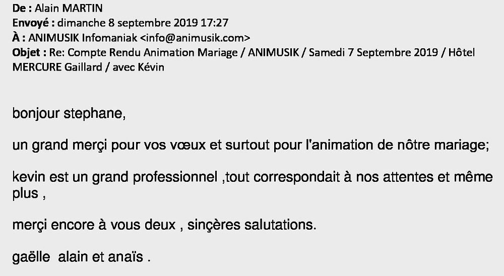 mariage à Gaillard avec Animusik Septembre 2019