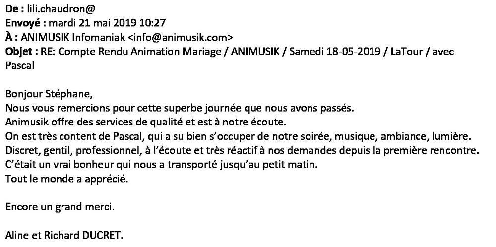 animation mariage à La Tour avec animusik mai 2019