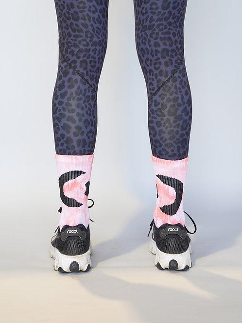 Women's pink tie-dye training sock