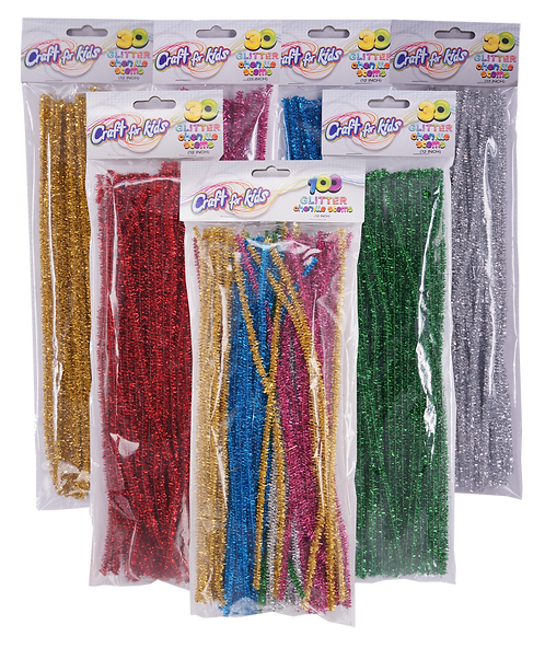 12 Inch Glitter Chenille Stems (SET OF 12)