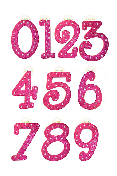 Pink Numbers with Silver Rhinestones (SET OF 12)