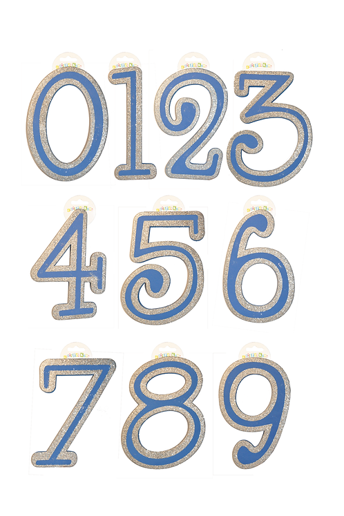 Blue Numbers/Silver Sparkle (SET OF 12)