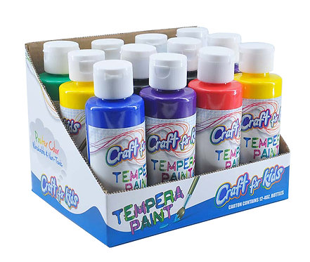 4oz. TEMPERA PAINT - 12PC ASSORTED DISPLAY