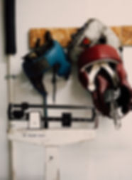 Boxing Head Protectors Mounted On Wall