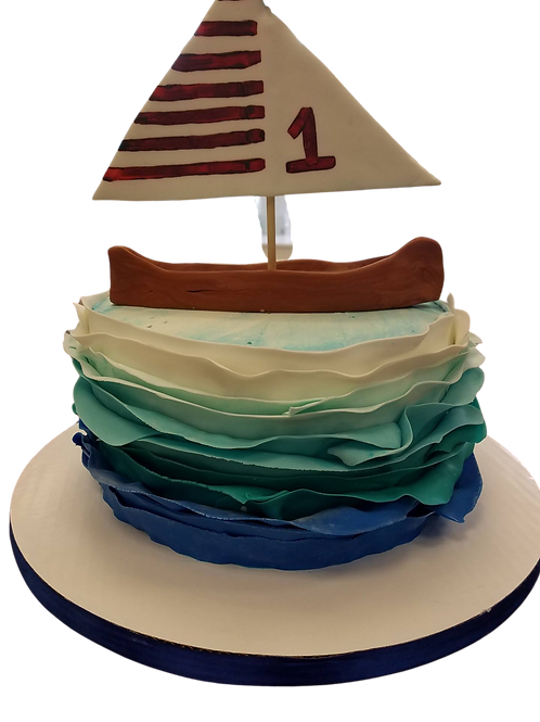 Ocean Ruffle Cake