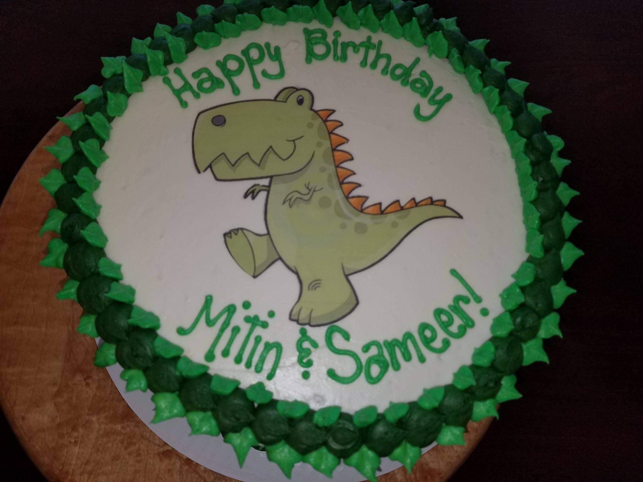 picture cake, dinosaur