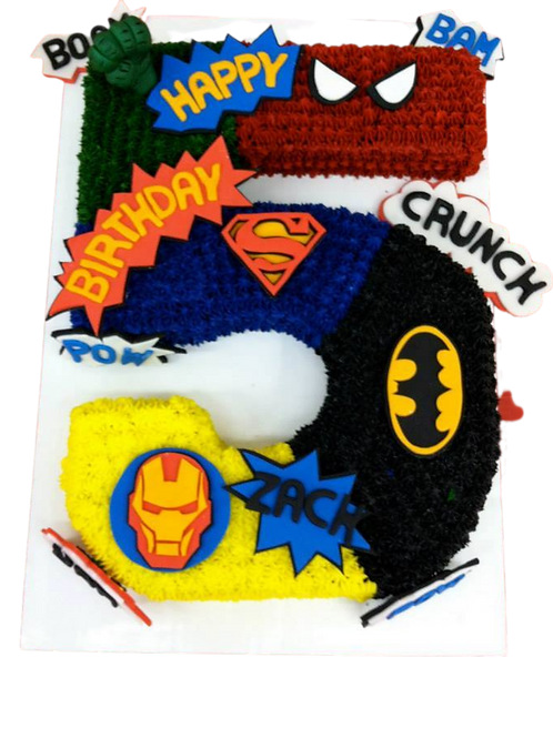 Number 5 Super Hero Cake