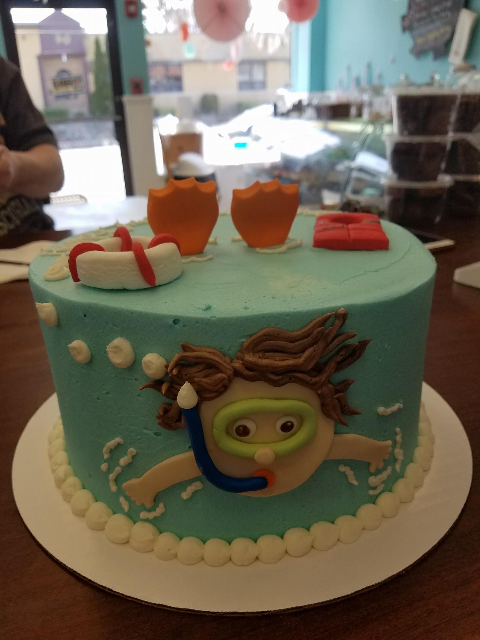 cake, snorkel, water, ocean