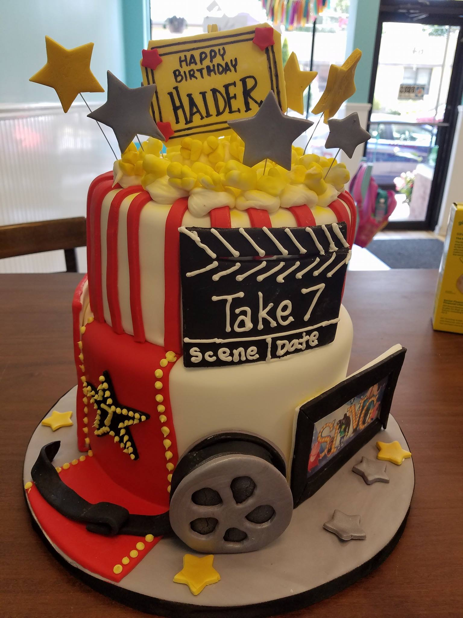 Movie, Cake, popcorn, reel, clapboar