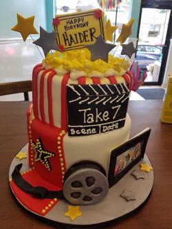 Movie, Cake, popcorn, reel, clapboar
