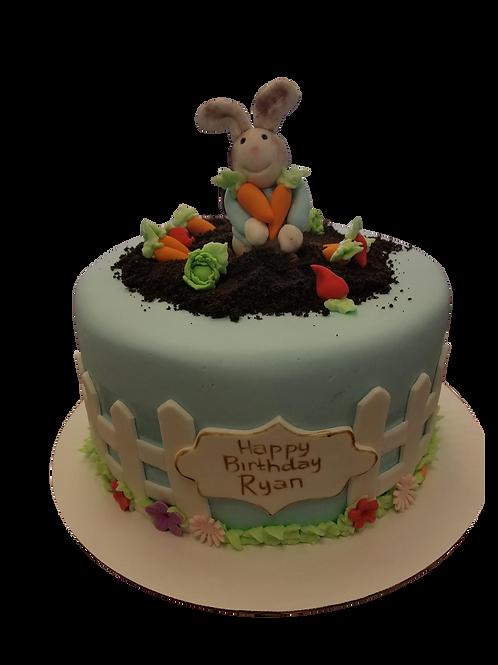 Bunny On Fence Cake