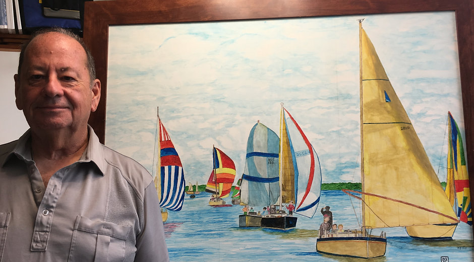 Artist Marvin Keith and large regatta painting.