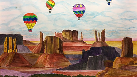 Painting of hot air balloons over Monument Valley