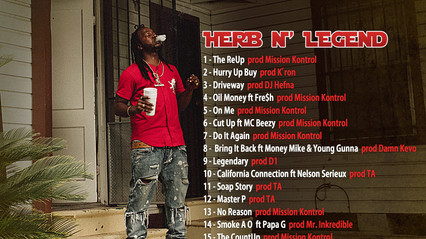 Back Cover & TrackListing for Dank Lucas Herb N' Legend. Release Date March 30th. Pre-Order