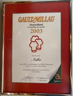 Auszeichnung Gault Millau 2003