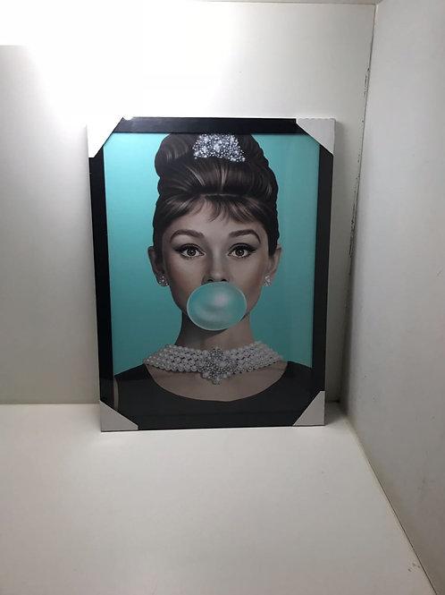 Quadro Audrey Hepburn Fundo Tifanny