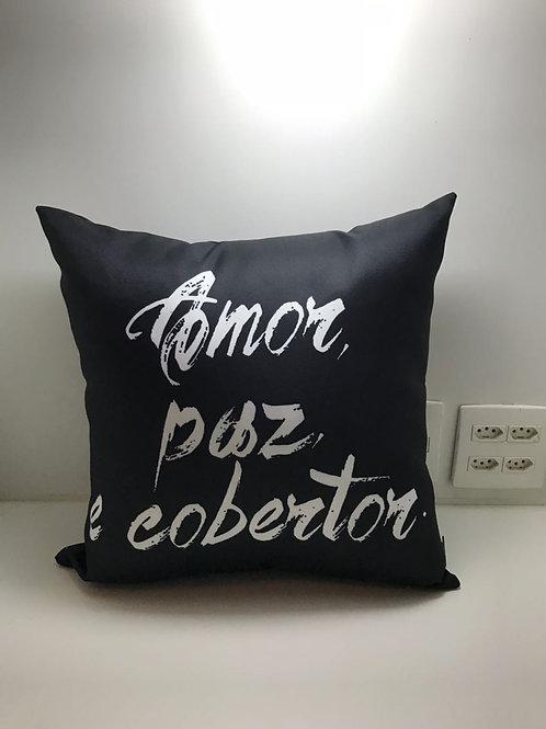 Almofada Frases Amor Paz Cobertor