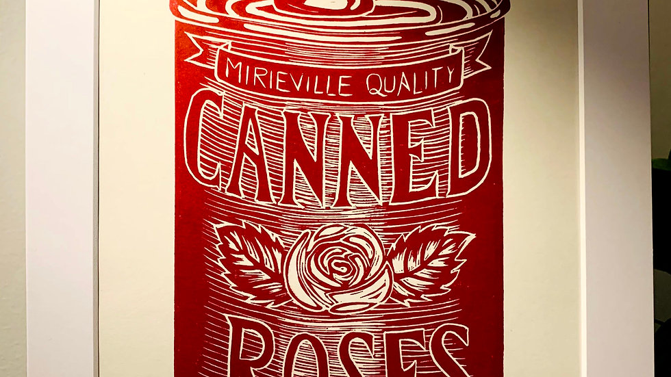 Canned Roses Print Red