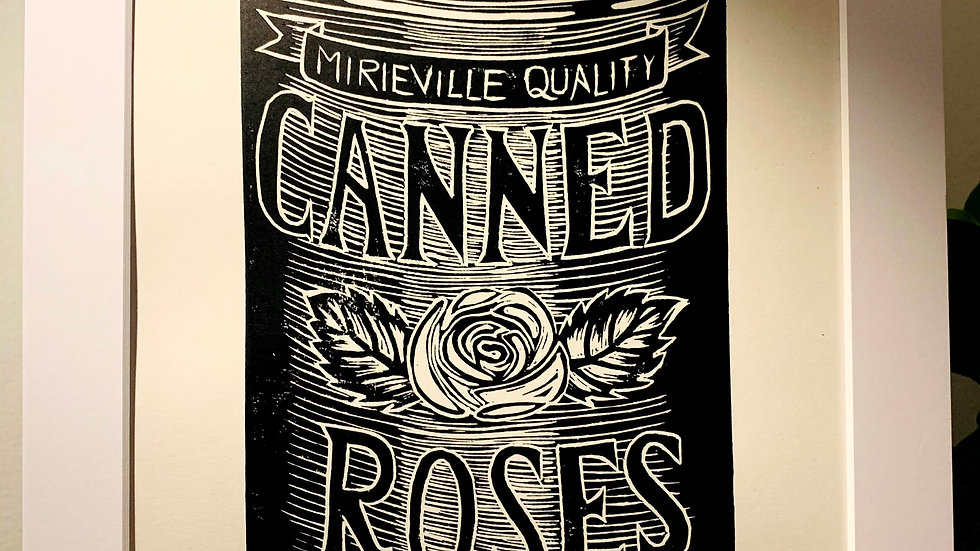 Canned Roses Print Black