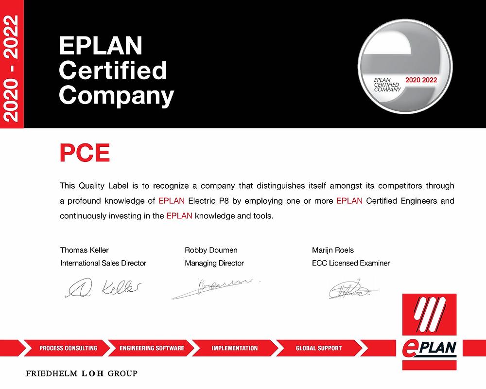 Certificaat van Eplan Certified Company voor PCEcad