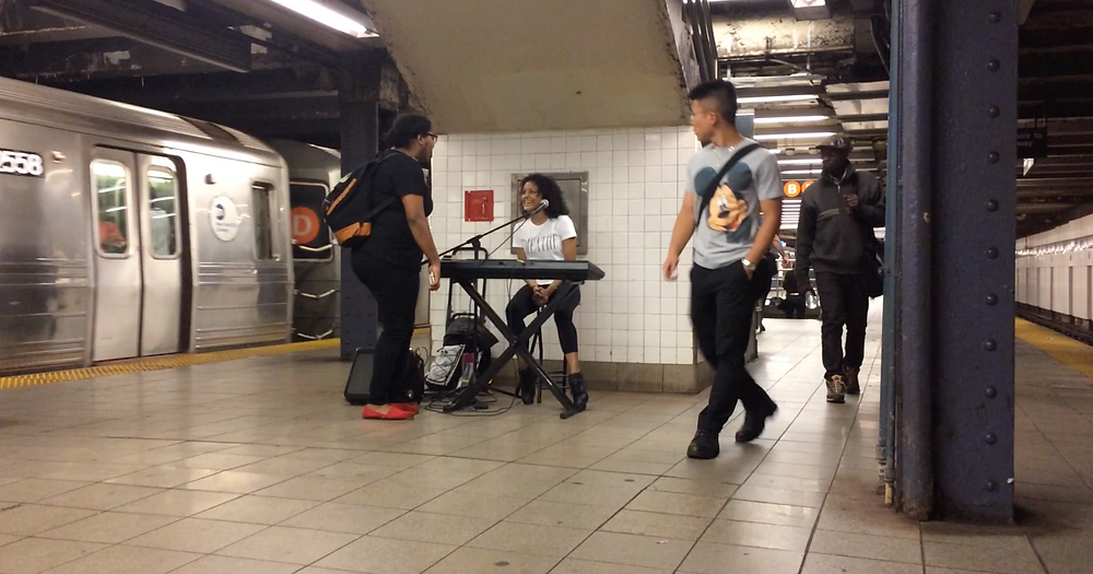 One of the first times I busked, summer 2015, NYC. Having fun connecting with passersby. I wore that T-shirt, to remind me to Breathe, lol. I was still so nervous but mostly excited every time I busked. I don't remember what station this was. I only remember that I was coming from a brunch gig in Astoria and I sang for 3 hours and couldn't wait to get out of there so I could venture into the subway and make more doing my own thing :)